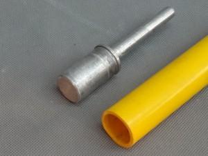 外径27㎜ 塩ビパイプ(黄色) と内径合せ込みパーツ